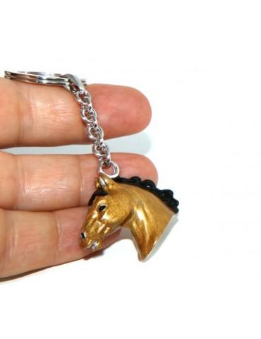 Portachiavi uomo o donna testa di cavallo smalto a fuoco realizzato a mano , tutto Argento 925 24,80 g