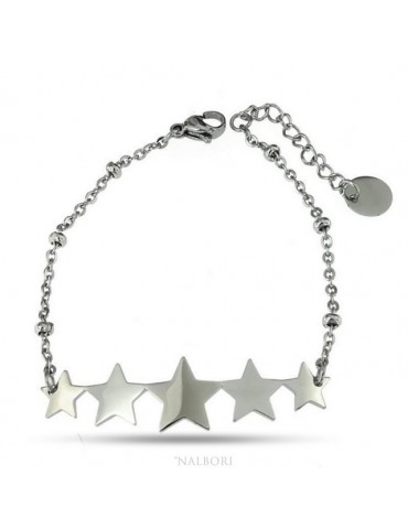 NALBORI anallergic steel woman bracelet with 5 stars central