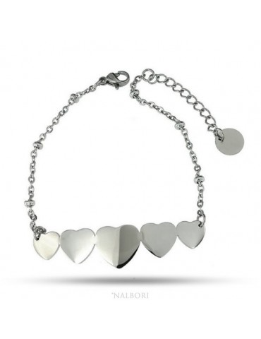 NALBORI bracelet woman anallergic steel with central 5 hearts