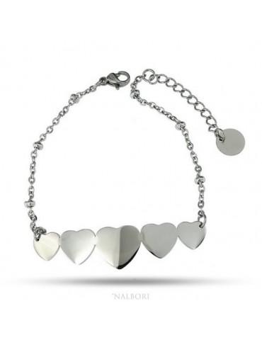 NALBORI bracelet woman anallergic steel with central 5 hearts