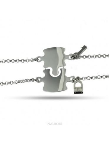 NALBORI double hypoallergenic steel bracelet he she key padlock puzzle