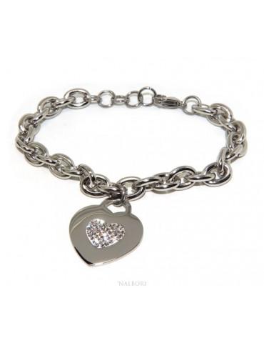 NALBORI bracciale donna acciaio anallergico catena con pendente cuore pave' zirconi