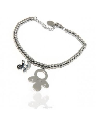 NALBORI stainless steel bracelet hypoallergenic balls with pacifier pram pendant