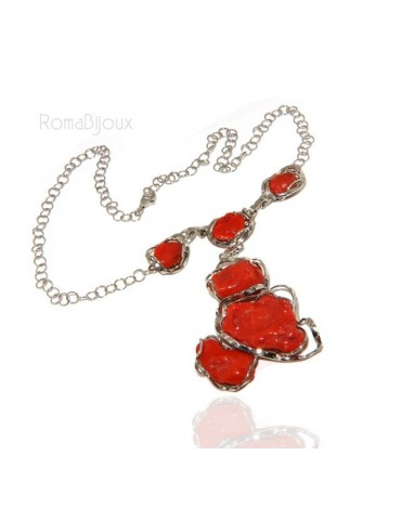 Necklace silver necklace 925 silver capri with large coral gems veracious red from the Mediterranean