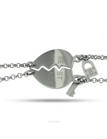 "NALBORI double hypoallergenic steel bracelet he her heart ""best friends"" key padlock"