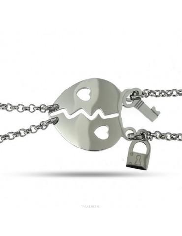 NALBORI bracciale acciaio anallergico doppio lui lei cuore traforato lucchetto chiave