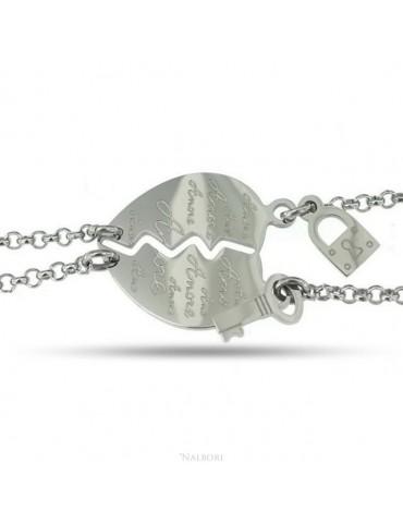 """NALBORI bracciale acciaio anallergico doppio lui lei cuore scritta """"amore"""" lucchetto chiave"""