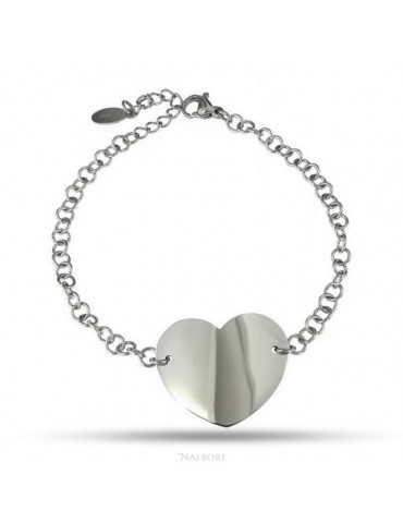 NALBORI anallergic steel bracelet rolo 'with big heart in the center