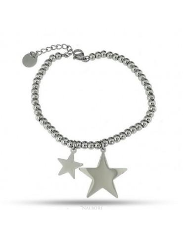 NALBORI bracciale acciaio anallergico palline con ciondolo stella e stellina