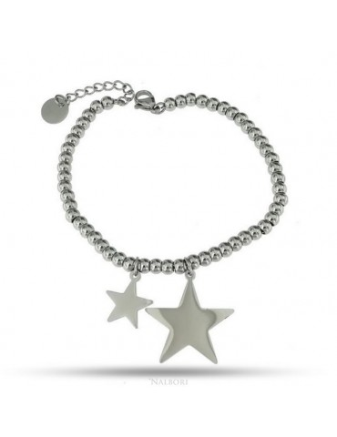 NALBORI bracelet anallergic steel balls with star pendant