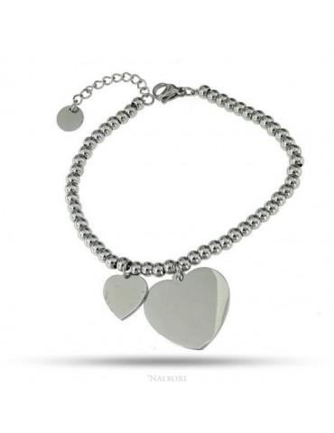NALBORI bracciale acciaio anallergico palline con ciondolo cuore grande e piccolo