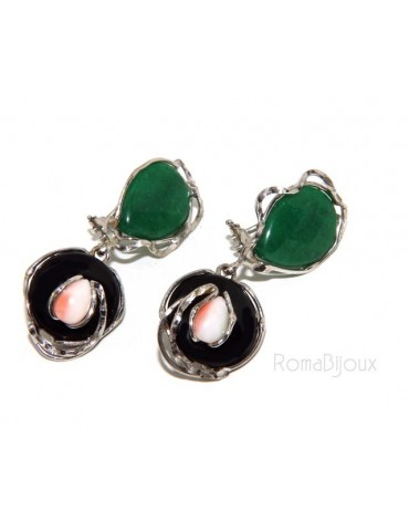 Woman earrings in 925 sterling silver with green agate, black and pink coral drop