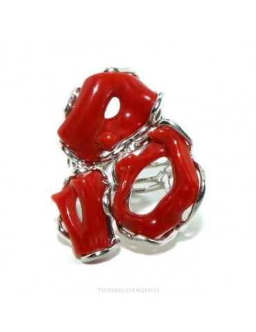 Argento 925 : Anello donna regolabile realizzato a mano con corallo rosso del mediterraneo