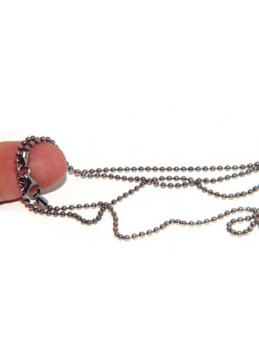 ARGENTO 925 : Girocollo collana pallini palline balls 2,0 mm varie lunghezze modello scuro anticato