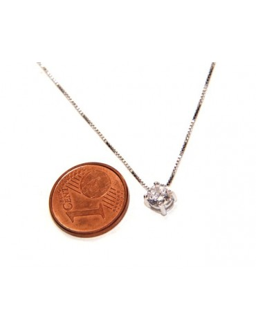 Collier necklace 925 silver man woman point light bright white zircon 5 mm