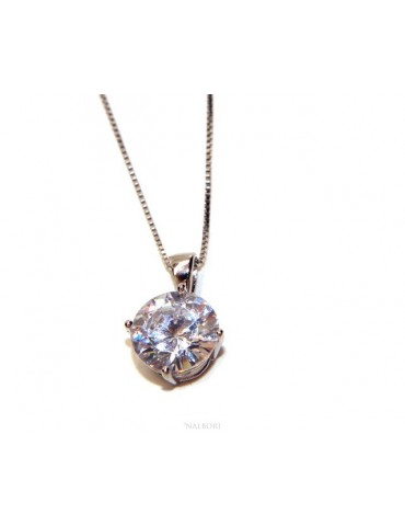 Collier collana argento 925 uomo donna punto luce brillante zircone bianco 10 mm