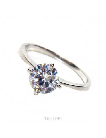 silver 925 Rhodium: Solitaire with zircon 7,0 mm brilliant cut