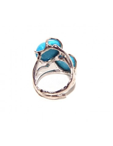 Silver 925: Adjustable women's ring made of lost wax with natural double turquoise