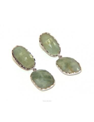 Orecchini in Argento 925 pendenti corindone naturale radice smeraldo sfaccettato