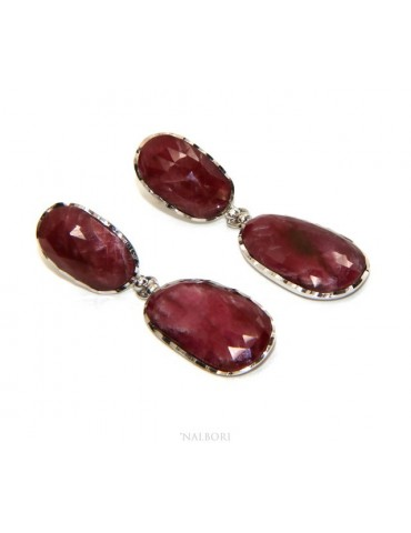Earrings in 925 silver faceted natural corundum ruby root pendants