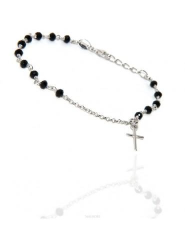 Bracciale lavorazione a rosario uomo donna in Argento 925 croce a ciondolo 15,5-18 cm