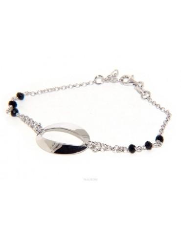 Bracciale donna ragazza Argento 925 lavorazione a rosario cristallo nero con ovale centrale 15,5 - 18 cm
