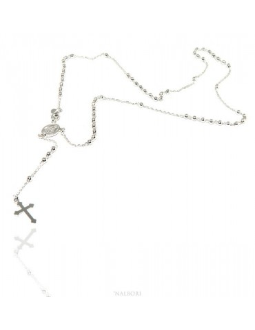 Collana rosario uomo o donna in Argento 925 palline 3mm croce madonna miracolosa