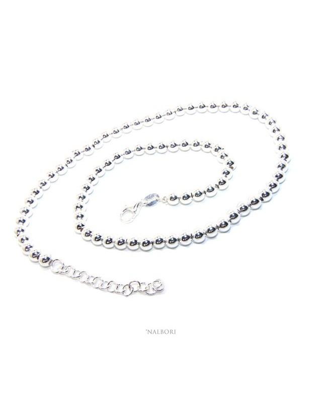 NALBORI sILVER 925: Women's choker necklace 5mm ultra light balls long 40 + 4 cm