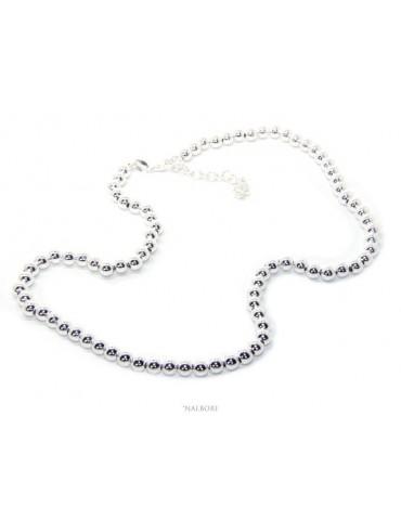 SILVER 925: Women's choker necklace 5mm ultra light balls hardwear