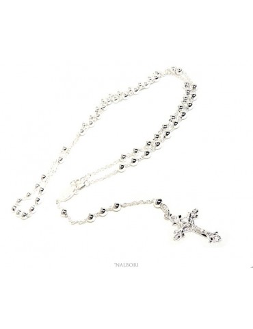 Rosary necklace man or woman in 925 silver cross worked balls 5 mm 67 cm silver light tone NALBORI