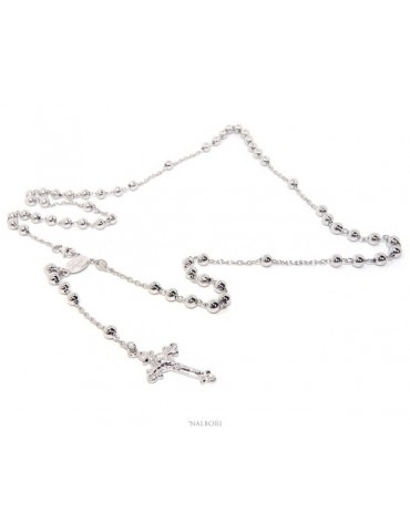 authentic NALBORI Rosary necklace for men or women in 925 sterling silver cross worked balls 5 mm 67 cm Rhodium