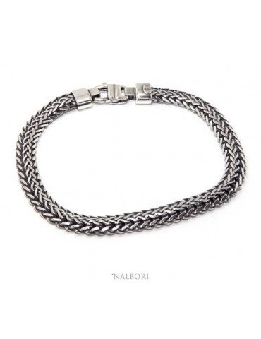 SILVER 925 Solid dark antique Byzantine snake bracelet men's bracelet made in italy