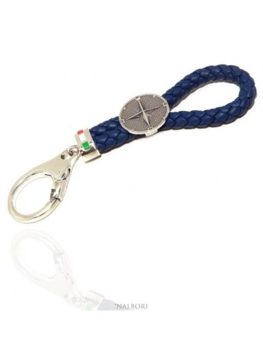 Key ring man or woman in solid 925 silver and navy blue leather KeyRing wind rose hook