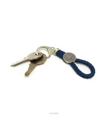 NALBORI Key ring man or woman in solid 925 silver and navy blue leather KeyRing wind rose hook