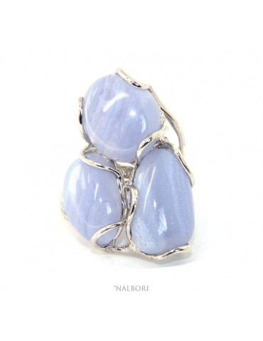 Silver 925: Adjustable women's ring handmade with natural blue chalcedony gems ITALY