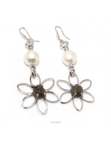 Earrings in 925 sterling silver natural corundum root emerald baroque pearl flower nalbori