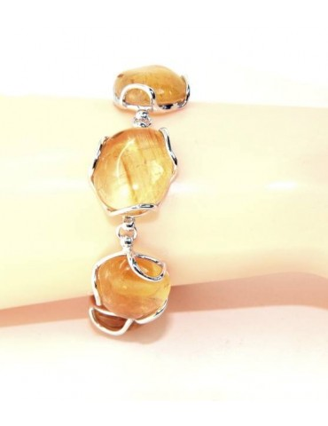 Woman bracelet in 925 silver and natural yellow citrine stones 30 gr