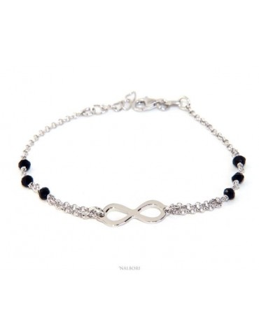NALBORI® Bracelet man woman Silver 925 crystal black or light blue with  infiniy  NERO