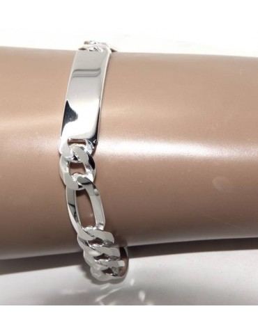 bracelet in light 925 silver, solid with 10 mm figaro chain, wrist circumference 20.5 cm NALBORI