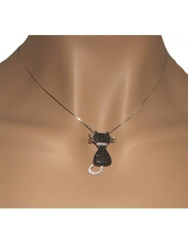 Silver 925: Collier necklace, Venetian woman with big black cat pendant NALBORI