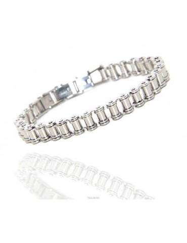 nalbori Stainless steel bracelet chain hypoallergenic ip silver 9 mm wrist 16 - 19 cm