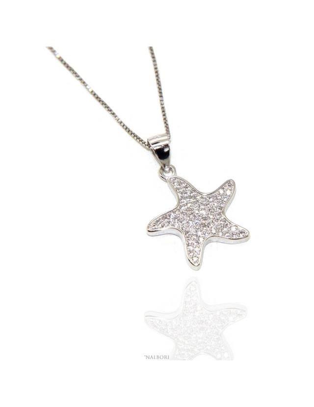 4cba9e0f54651d nalbori Argento 925 : Collana Collier donna veneziana con ciondolo stella  marina pavè di zirconi