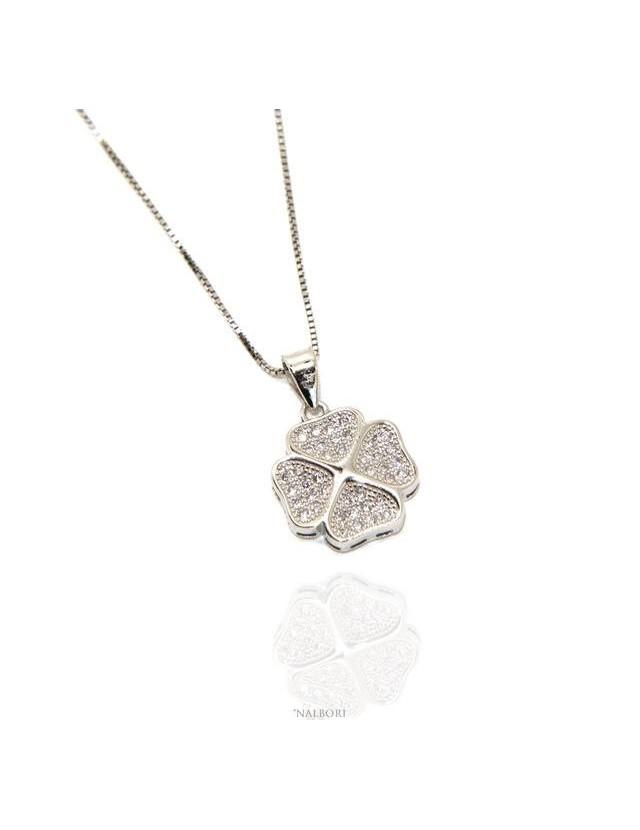 Silver 925: Necklace Venetian woman necklace with pendant cloverleaf zirconia pavé