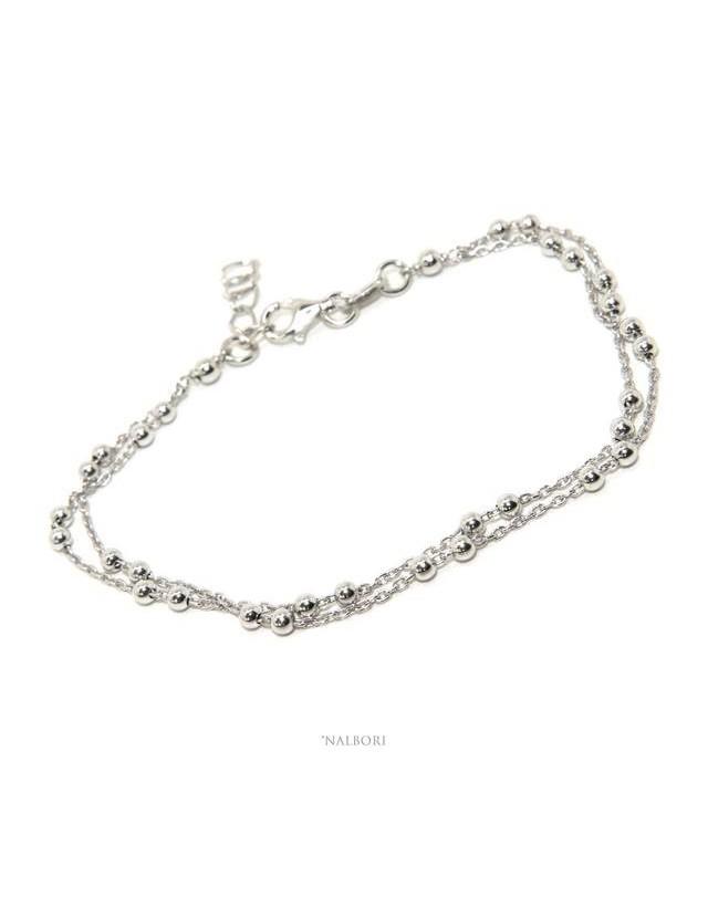 Bracciale uomo donna argento 925 lavorazione a rosario doppia catena palline 3mm 16-19,50 cm NALBORI