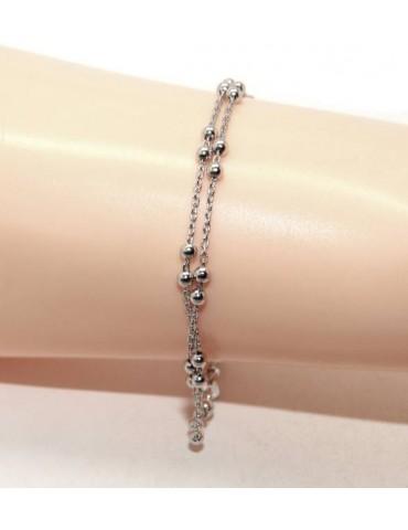 Bracciale uomo donna argento 925 lavorazione a rosario doppia catena palline 3mm 16-19,50 cm
