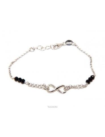 NALBORI Bracciale donna Argento 925 cristallo nero tris con infinito 16 - 18,50