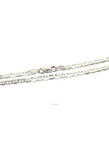 ARGENTO 925 : Collana o Bracciale uomo catena maglia marina 3 mm massiccia chiara NALBORI