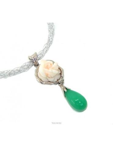 Collana collier argento 925 linea capri con ciondolo in corallo misu rosato bianco e goccia di vera giada verde