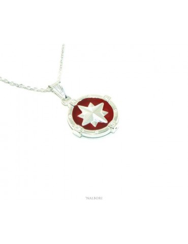 Sterling silver fortified man necklace with red enamel rose wind pendant