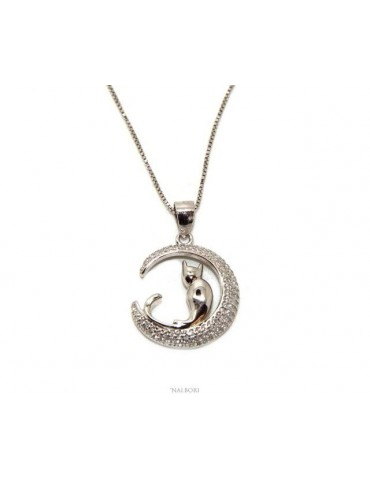 Silver 925: Necklace Venetian woman necklace with pendant moon cat 19mm nalbori